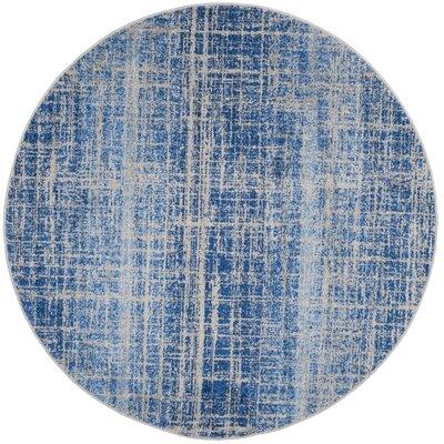 Schacher Blue/Silver Area Rug Rug Size: Round 4