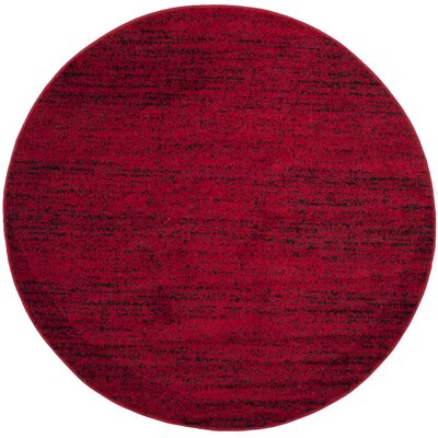 Schacher Red/Black Area Rug Rug Size: Round 6