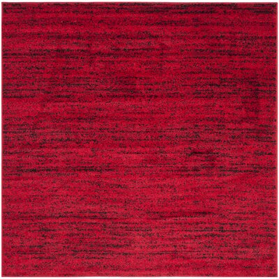 Schacher Red/Black Area Rug Rug Size: Square 6'