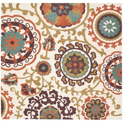 Columbus Circle Hand-Loomed Red/Yellow Area Rug Rug Size: Square 5'