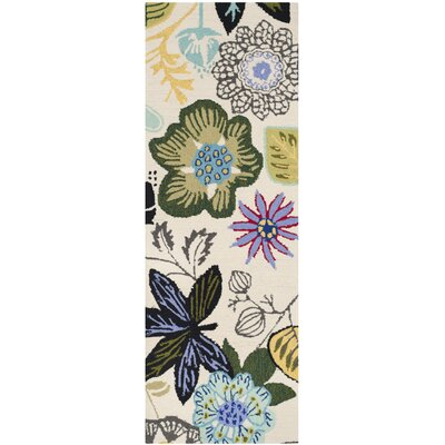 Forsyth Road Hand-Hooked Ivory Indoor / Outdoor Area Rug Rug Size: Runner 2 x 6
