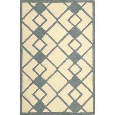 LaGuardia Hand-Tufted Ivory/Blue Area Rug Rug Size: Rectangle 26 x 310