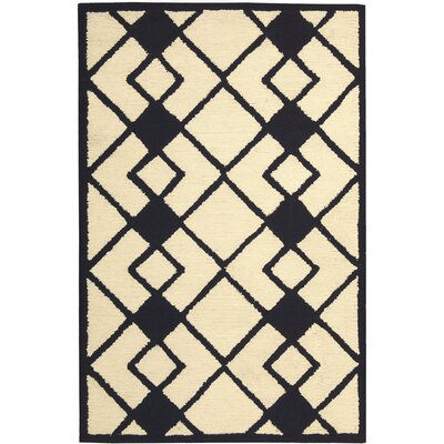 LaGuardia Hand-Tufted Ivory/Navy Area Rug Rug Size: Rectangle 5 x 7