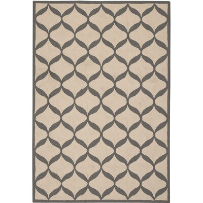 LaGuardia Hand-Tufted White/Light Gray Area Rug Rug Size: 5 x 7