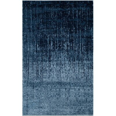 Tenth Avenue Light Blue / Blue Area Rug Rug Size: Round 4