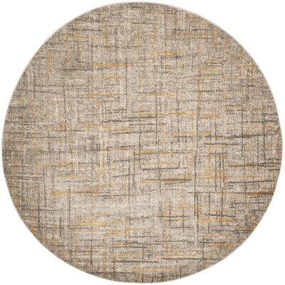 Elvis Gray/Yellow Area Rug Rug Size: Round 67 x 67