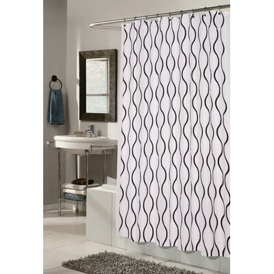 West Drive Shower Curtain Color: True White / Black
