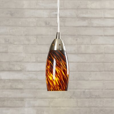 Bensenville 1-Light Mini Pendant Finish: Satin Nickel and Espresso Glass