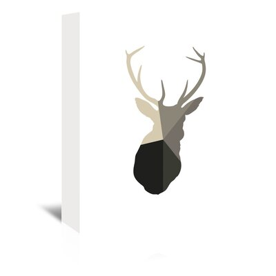 Beckett Deer Head Graphic Art on Wrapped Canvas Size: 14