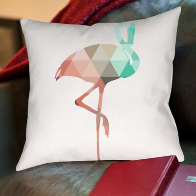 Melinda Wood Flamingo Throw Pillow Size: 18 H x 18 W x 2 D, Color: Mint Coral