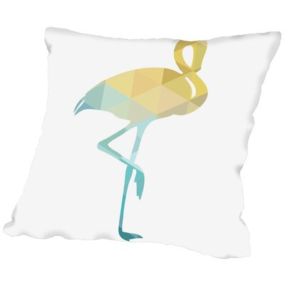 Melinda Wood Flamingo Throw Pillow Size: 18 H x 18 W x 2 D, Color: Blue Yellow