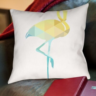 Melinda Wood Flamingo Throw Pillow Size: 16 H x 16 W x 2 D, Color: Blue Yellow