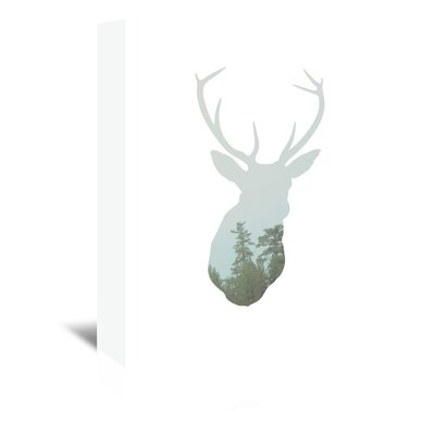 Beckett Deer Trees Graphic Art on Wrapped Canvas Size: 14