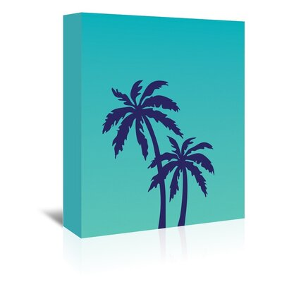 Cabrini Teal Palm Tree Graphic Art on Wrapped Canvas Size: 14