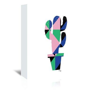 Cabrini Geometric Cactus Graphic Art on Wrapped Canvas