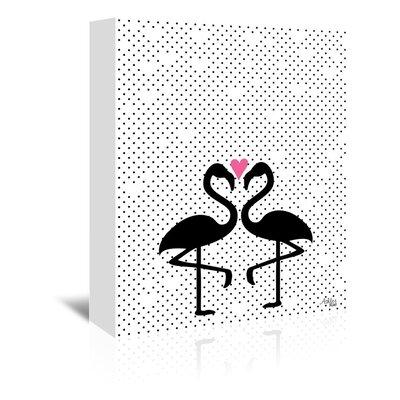 Cabrini Flamingo Love Graphic Art on Wrapped Canvas