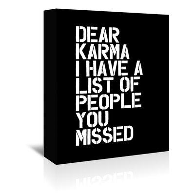 Dear Karma Textual Art on Wrapped Canvas