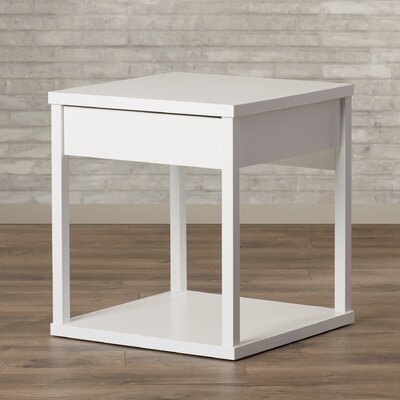 Maxon End Table with Drawer Finish: White