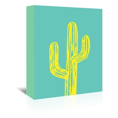 Cabrini Cactus on Teal Graphic Art on Wrapped Canvas