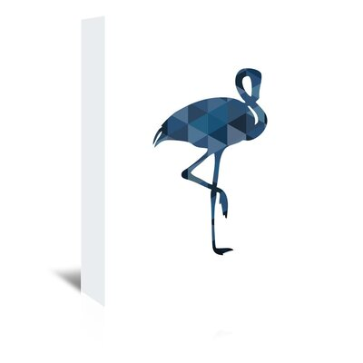 Beckett Navy Flamingo Graphic Art on Wrapped Canvas Size: 14