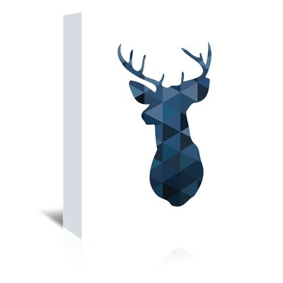 Beckett Navy Deer Graphic Art on Wrapped Canvas Size: 14