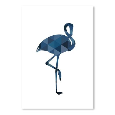 Beckett Navy Flamingo Graphic Art Size: 10