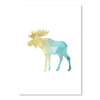 Beckett Turquoise Moose Graphic Art Size: 10