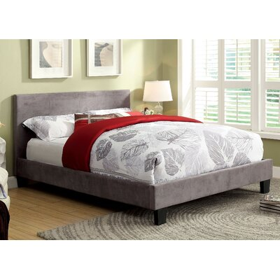 Crestline Upholstered Platform Bed Finish: Gray Leather, Size: Twin