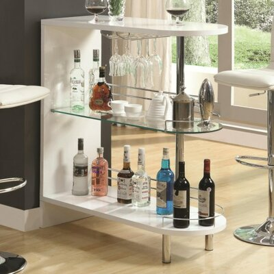 Milwaukee Bar with Wine Storage Color: White