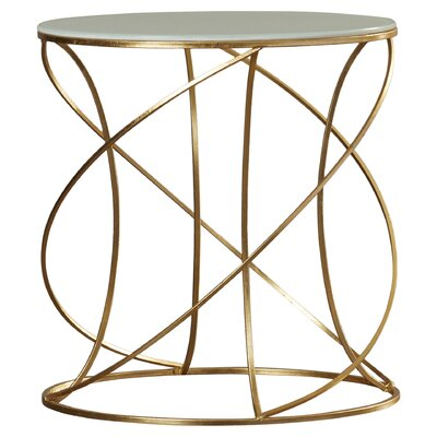 Winsor End Table Color: Gold / White