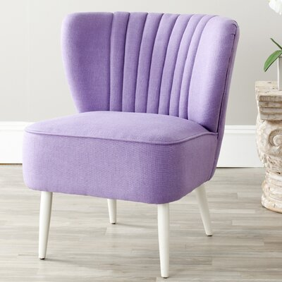 Gelston Striped Fabric Slipper Chair Color: Lavender Linen