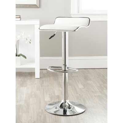 Wagenen Adjustable Height Swivel Bar Stool Upholstery: White