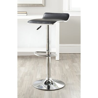 Wagenen Adjustable Height Swivel Bar Stool Upholstery: Black