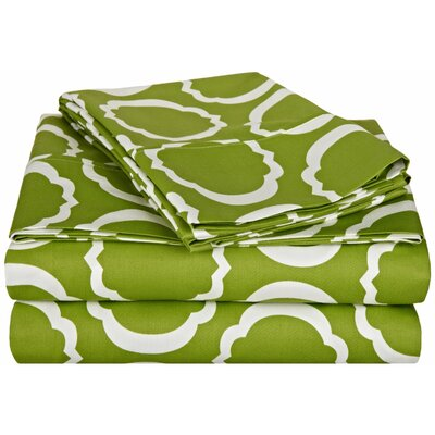 Hewson 600 Thread Count Cotton Sheet Set Size: Queen, Color: Green/White