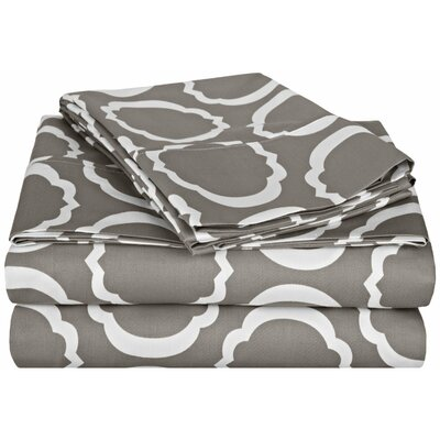 Hewson 600 Thread Count Cotton Sheet Set Color: Grey/White, Size: Full
