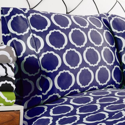 Seagraves Reversible Duvet Cover Set Color: Navy Blue/White, Size: Twin