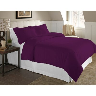 Adriel 3 Piece Duvet Cover Set Color: Plum, Size: Twin/Twin XL
