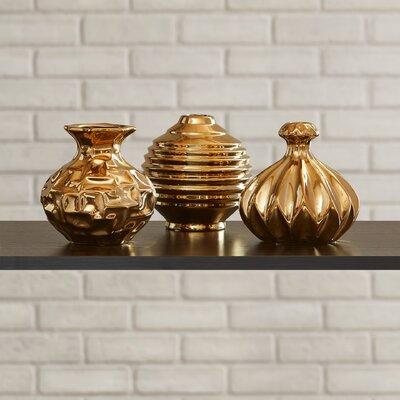 Sawyer 3 Piece Table Vase Set Color: Golden
