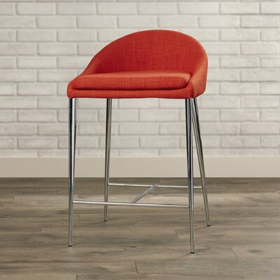 Tindley 24.4 Bar Stool Upholstery: Tangerine