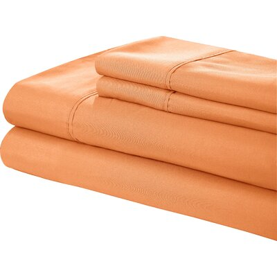 Little Italy 400 Series Peach Skin Sheet Set Color: Orange, Size: Full
