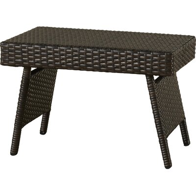 Ellington Circle Outdoor Foldable Wicker Side Table Color: Brown