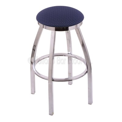 Cragin 30 Swivel Bar Stool Finish: Chrome, Upholstery: Axis Denim