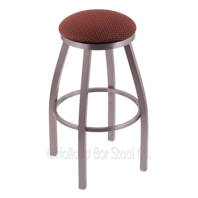 Cragin 30 Swivel Bar Stool Finish: Stainless, Upholstery: Axis Paprika