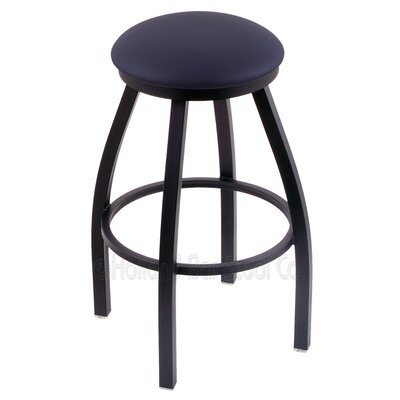 Cragin 30 Swivel Bar Stool Finish: Black Wrinkle, Upholstery: Allante Dark Blue
