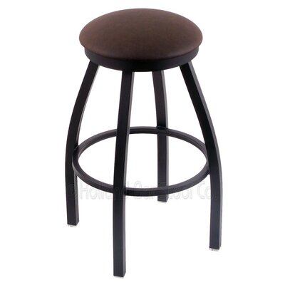 Cragin 25 Swivel Bar Stool Finish: Black Wrinkle, Upholstery: Rein Coffee