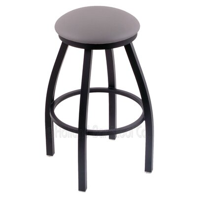 Cragin 25 Swivel Bar Stool Finish: Black Wrinkle, Upholstery: Allante Medium Grey
