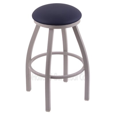 Cragin 25 Swivel Bar Stool Finish: Anodized Nickel, Upholstery: Allante Dark Blue