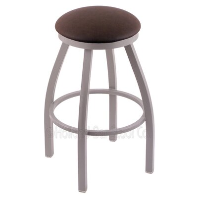 Cragin 36 Swivel Bar Stool Finish: Anodized Nickel, Upholstery: Rein Coffee