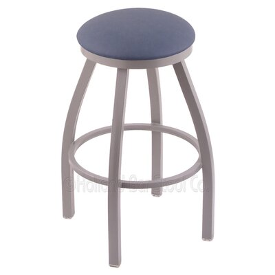 Cragin 36 Swivel Bar Stool Finish: Anodized Nickel, Upholstery: Rein Bay