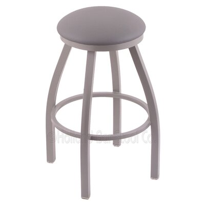 Cragin 25 Swivel Bar Stool Finish: Anodized Nickel, Upholstery: Allante Medium Grey
